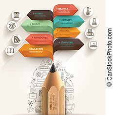 potlood, getal, opleiding, template., mal, web, concept., ontwerp, tekstballonetje, zijn, gebruikt, workflow, opties, opmaak, stap, spandoek, diagram, infographic., op, groenteblik, richtingwijzer