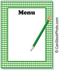potlood, gingham, groene, menu, frame