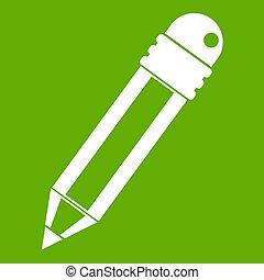 potlood, groene, gom, pictogram