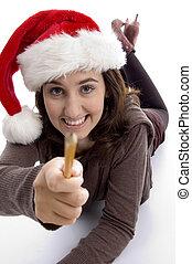 potlood, haar, het tonen, jonge, student, hoedje, kerstmis