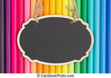 potlood, kleurrijke, kleurpotlood, chalkboard, achtergrond, opleiding