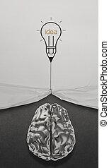 potlood, lightbulb, trekken, koord, open, rimpelig, papier, tonen, metaal, hersenen, 3d, met, handel strategie, iconen, als, concept