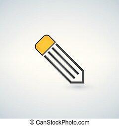 potlood, lijn, witte achtergrond, pictogram