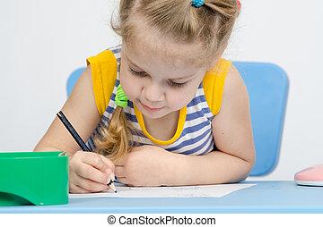 potlood, meisje, verlekkeert, concentratie