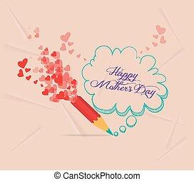 potlood, moeders, tekening, dag