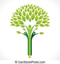 potlood, ontwerp, groen boom, creatief
