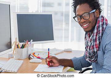 potlood, ontwerper, iets, het glimlachen, tekening, rood