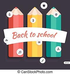 potlood, opleiding, back, icons., school