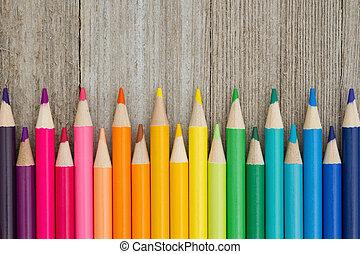 potlood, opleiding, kleurpotlood, kleurrijke, achtergrond