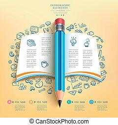 potlood, opleiding, zakelijk, infographics