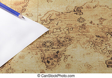 potlood, papier, oude wereld, kaart
