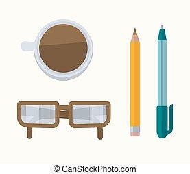 potlood, pen, bril, koffie