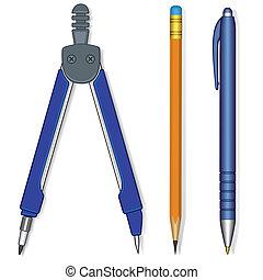 potlood, pen, kompassen