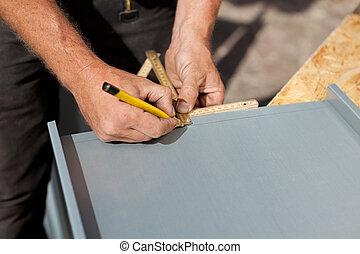 potlood, roofer, meetlatje, maken, noteringen, gebruik