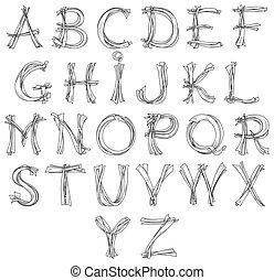potlood, schets, blik, alfabet, ontwerp, retro, tekening