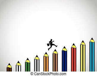 potlood, school, concept, kunst, succes, kleurrijke, &, jonge jongen, -, back, illustratie, een, stappen, springt, scholing, een ander, silhouette, opleiding, vrolijke