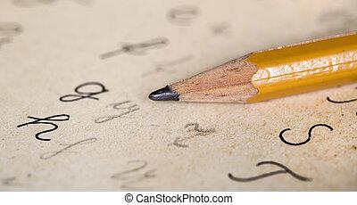potlood, school, handwritter, brieven, concept, back, alfabet