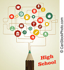 potlood, school, netwerk, back, icons., sociaal, opleiding