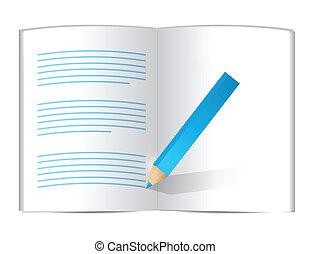potlood, schrijvende , op, een, book., illustratie, ontwerp