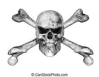 potlood, stijl, schedel, -, tekening, crossbones