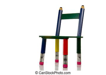 potlood, stoel, witte achtergrond