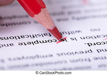 potlood, tekening, tekst, fout, gedurende, rood, spellchecking