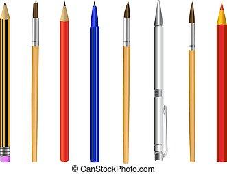 potlood, vrijstaand, illustratie, pen, vector, borstel, achtergrond, witte