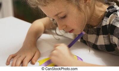 potlood, weinig; niet zo(veel), home., meisje, tekening