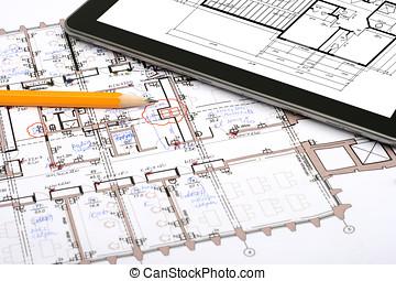 potlood, wisselbrief, tablet, digitale