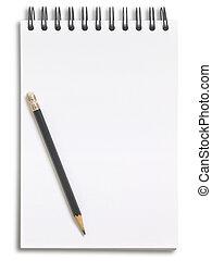 potlood, witte , aantekenboekje, vrijstaand, achtergrond