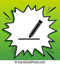 potlood, witte , black , popart, groene achtergrond, pictogram, meldingsbord, spots., illustration., gespetter