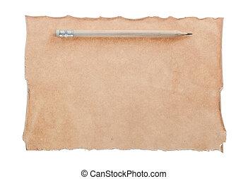 potlood, witte , papier, vrijstaand, ouderwetse