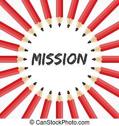 potlood, woord, missie, achtergrond