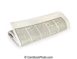 potoczona gazeta, odizolowany, do góry