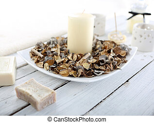 Composition of potpourri, candles, aromatherapy fireplace