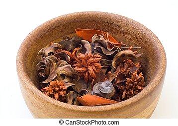 Isolated bowl of potpourri