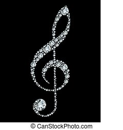 potrójny, diament, clef.