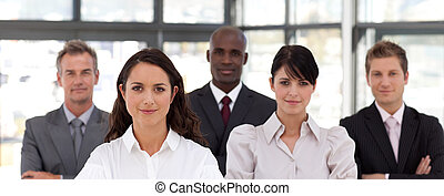 Potrait of a Confident Business woman leading a team