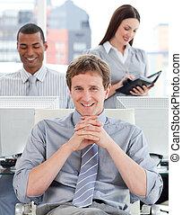Potrait of a pensive business team
