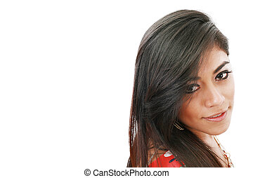 Potrait of an attractive young fashion model female smiling against white background