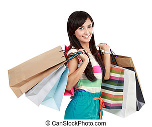 Potrait of Beautiful happy woman with shopping bags