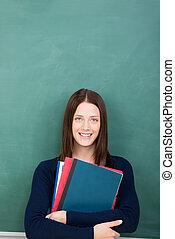 potrait, van, jonge, vrouwelijke student