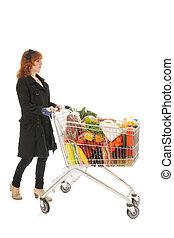 potraviny, eny shopping, kára, plný, mlékárna