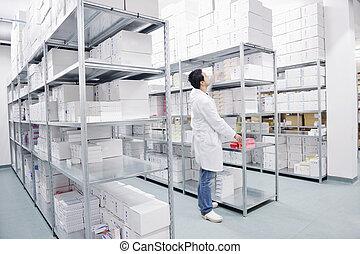 potraviny, lékařský, domovní, skladiště, továrna