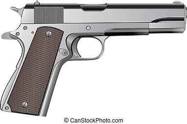 potro, aislado, vector, m1911, blanco, pistola