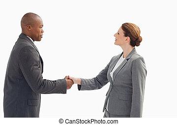potrząsająca ręka, biznesmenka, biznesmen