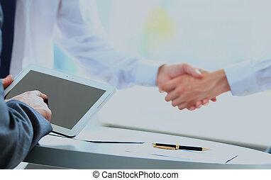 potrząsanie, handlowy, hands., ludzie