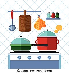 Pots and pans on a stove, Kitchen cooking flat vector concept background