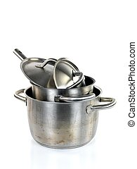 Pots and Pans - Pots and pans isolayed against a white ...
