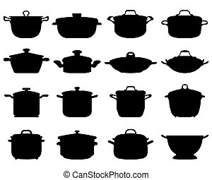 pots and pans - Black silhouettes of pots and pans